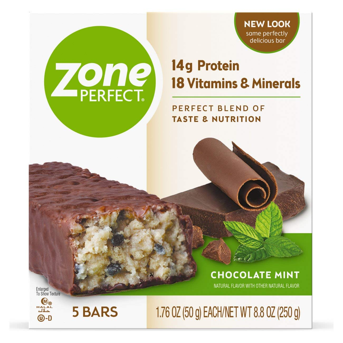ZonePerfect Protein Bars, Chocolate Mint, 14g of Protein, Nutrition Bars With Vitamins Minerals, Great Taste Guaranteed, 5 Bars