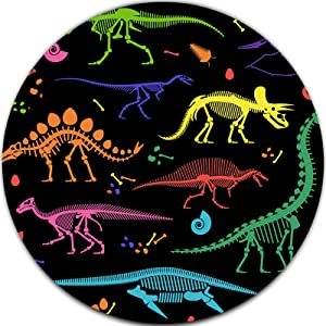 Cute Colorful Dinosaur Design Gaming Round Mouse pad for Kids Men Women Boys Girls, Mini Circular Mousepad for Desk Laptop Computer Home Office Working