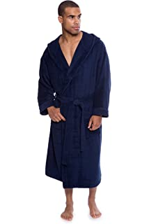 0e2eed6f4a Texere Men s Terry Cloth Hooded Bathrobe - Luxury Spa Robe for Him (Eklips)
