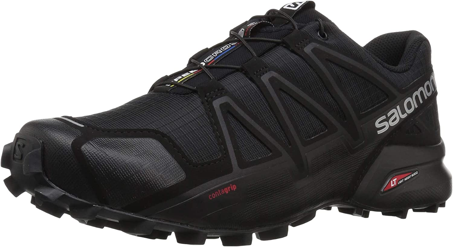 Salomon Men s Speedcross 4 Trail Running Shoes, Black Black BLACK METALLIC, 12.5 Wide