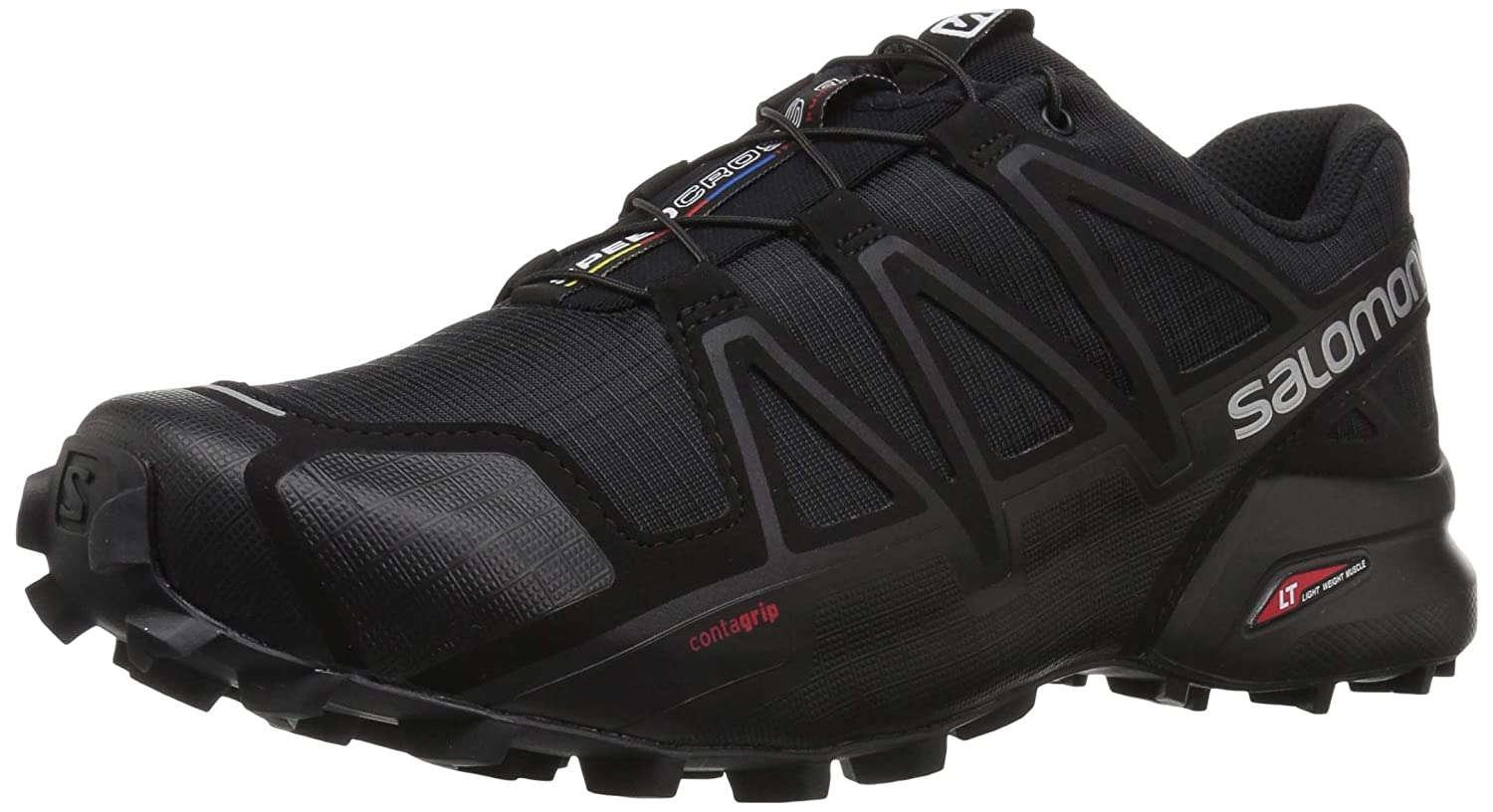 Salomon Men s Speedcross 4 Trail Running Shoe,Black Black Black Metallic,US 13 M