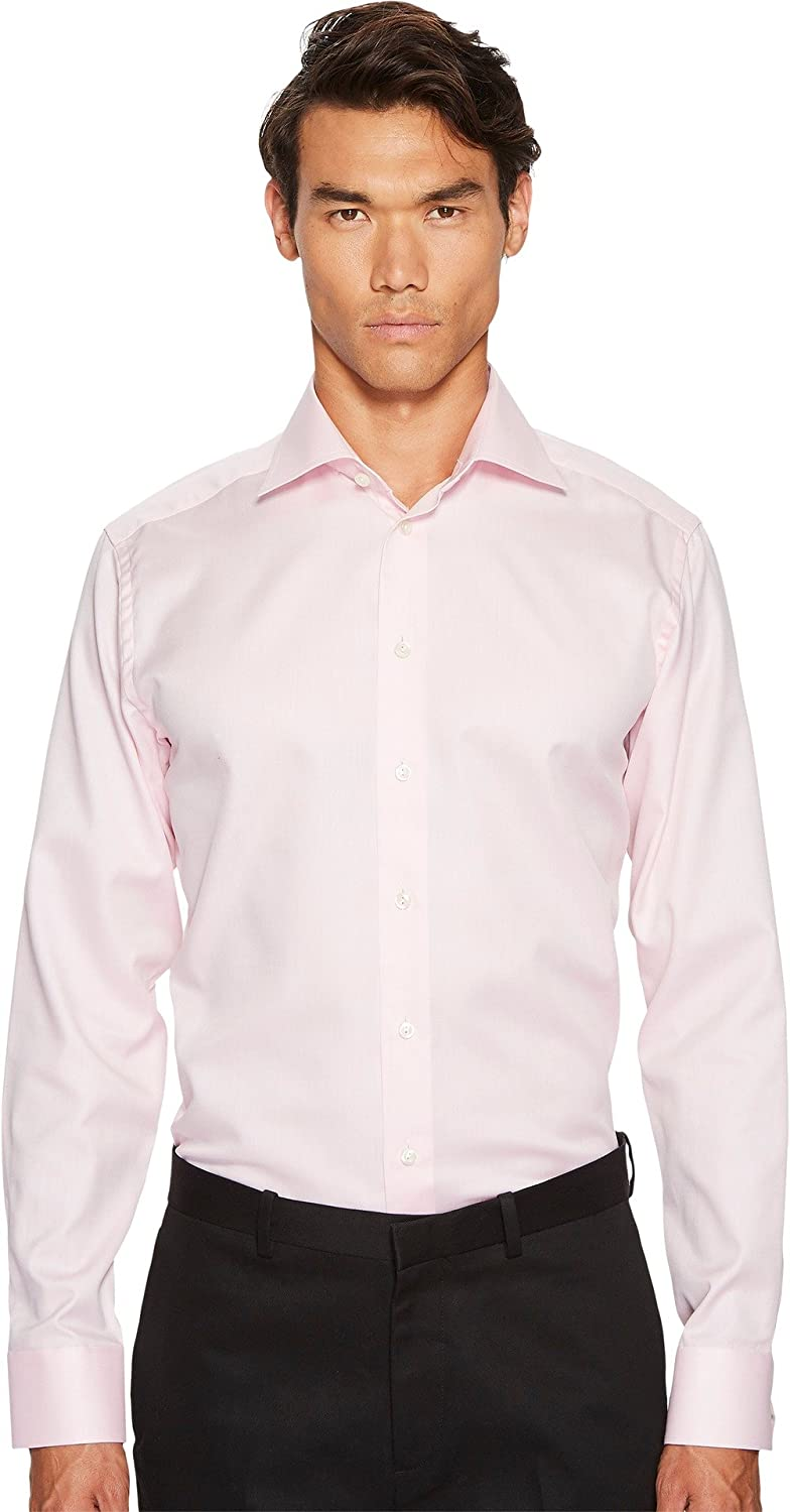 ff44ff7b4d Eton Men s Slim Fit Mini Herringbone Shirt Pink 14.5 at Amazon Men s  Clothing store