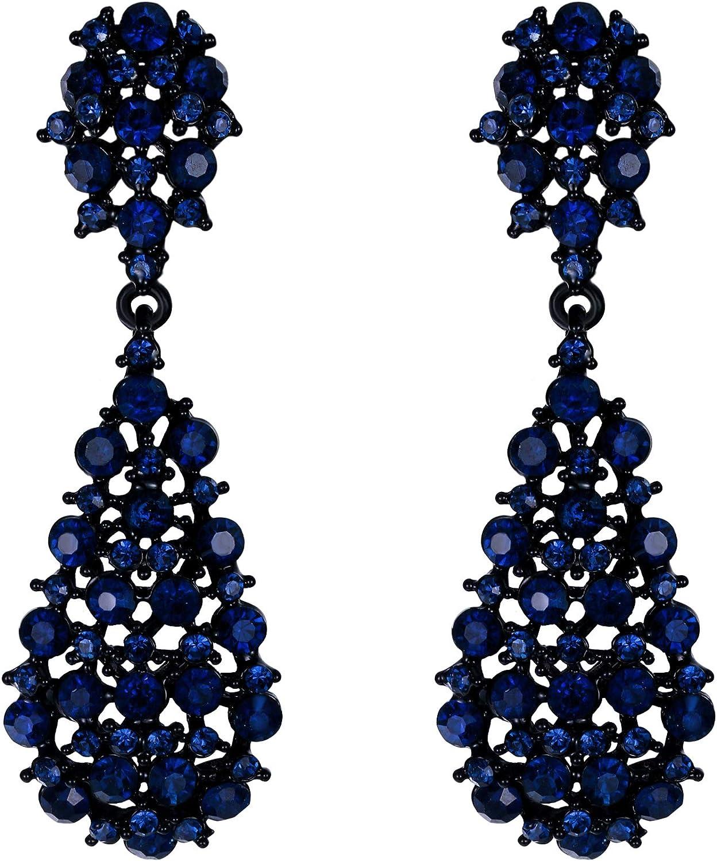 EVER FAITH Pendientes Mujer Estilo Artístico Flor Rhinestone Colgantes Aretes Retro Elegante para Regalo Novia Boda Fiesta