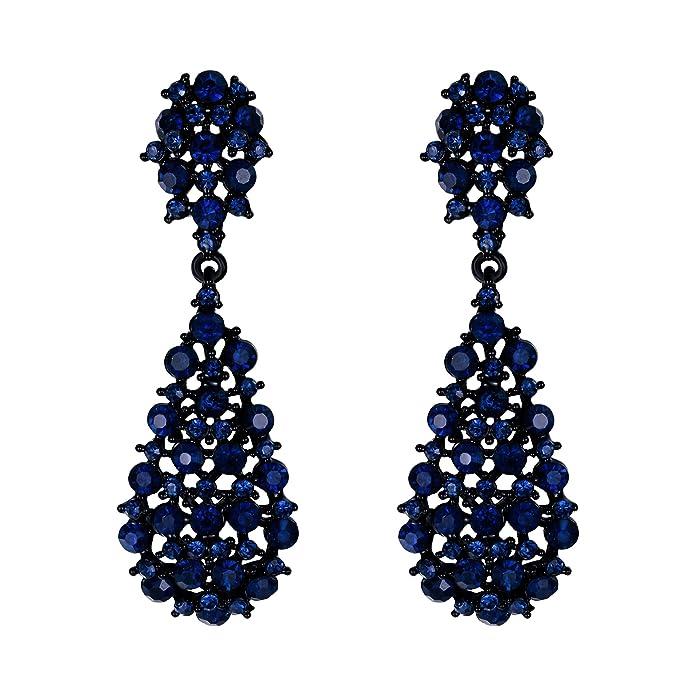 Pendientes elegante  rhinestone estilo artístico con forma de flor para regalo novia, boda, fiesta.