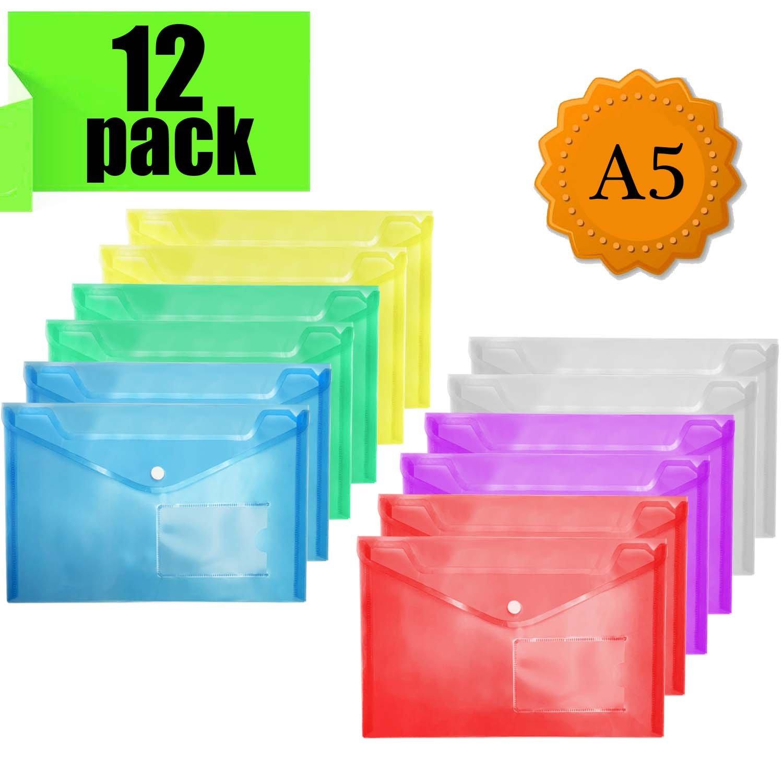 Carpeta Plastico Documentos - A4 Carpeta Plastico Archivadora documentos con botón, plástico archivos para almacenamiento de documentos (24 unidades) NORTHERN BROTHERS Ltd.