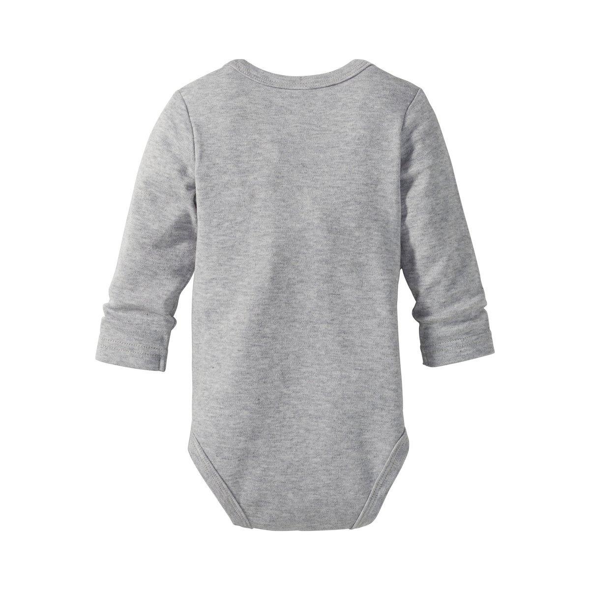100/% Baumwolle//grau melange//wollwei/ß // Baby Kleidung 5er-Pack Bornino Body langarm