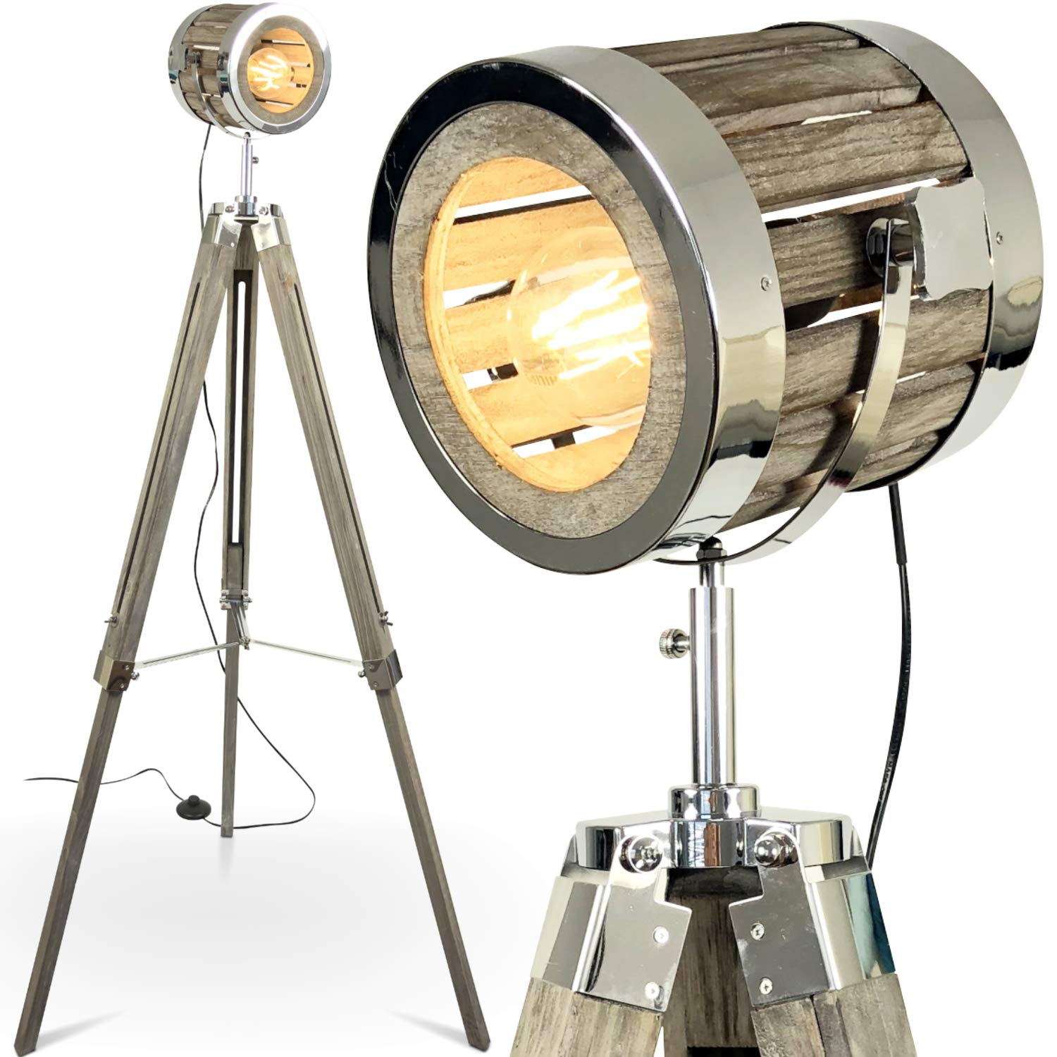 Holz Industrial Tripod Stehlampe Vintage Mojoliving Mojo Chic YeH2W9EDI