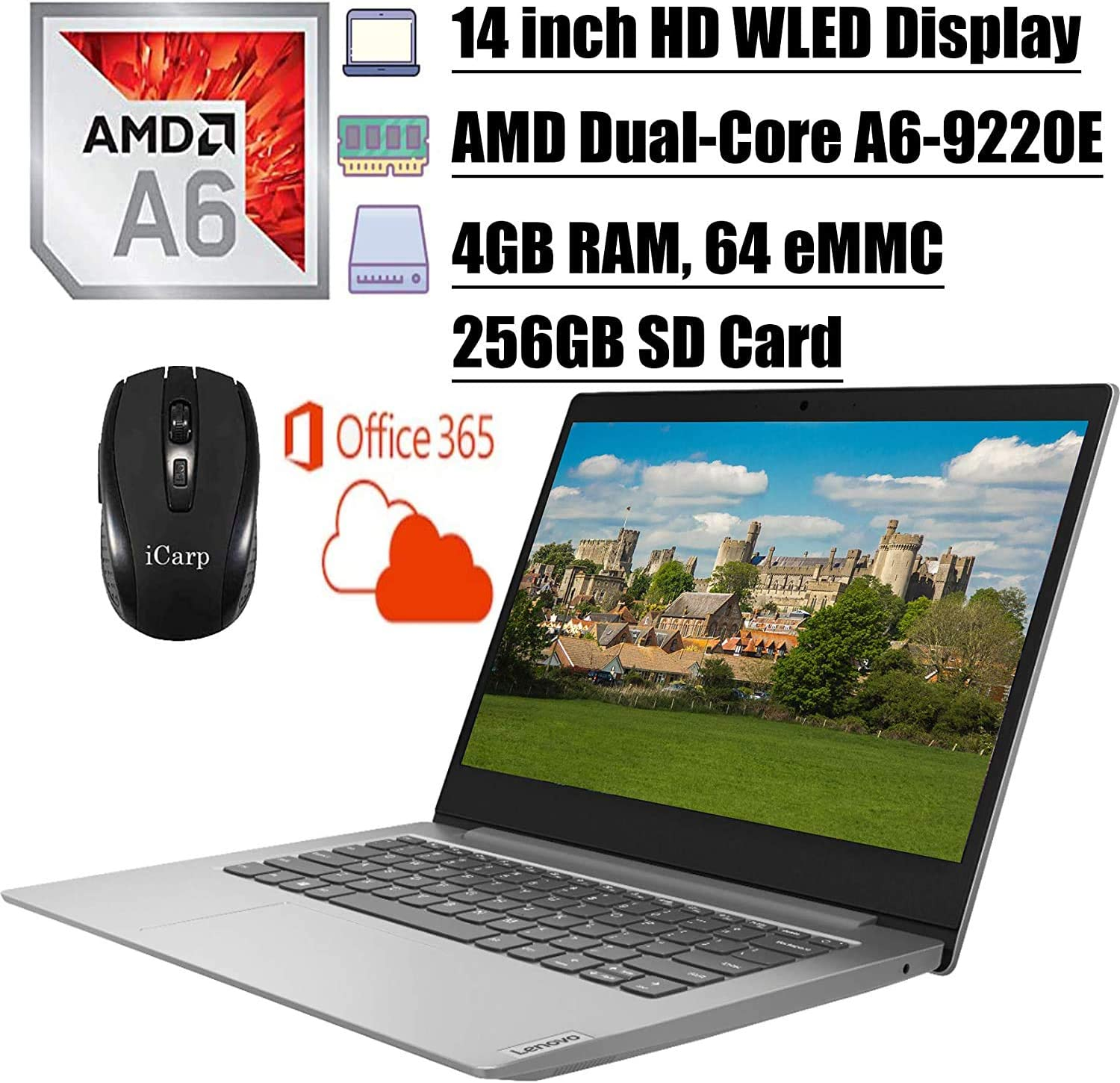 2020 Newest Lenovo IdeaPad 14 Laptop Computer 14 inch HD WLED Display AMD A6-9220e Processor 4GB DDR4 64GB eMMC + 256GB SD Card Office 365 Personal WiFi HDMI Webcam Win10 + iCarp Wireless Mouse
