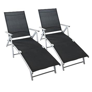 Lot de 2 chaise longue pliable chaise de plage fauteuil relax ...