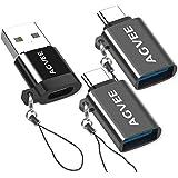 AGVEE [2 Pack] Zinc USB-C Male to USB-A 3.0 Female OTG Adapter & [1 Pack] USBC Female to USB-A 2.0 Male Converter, for MacBoo