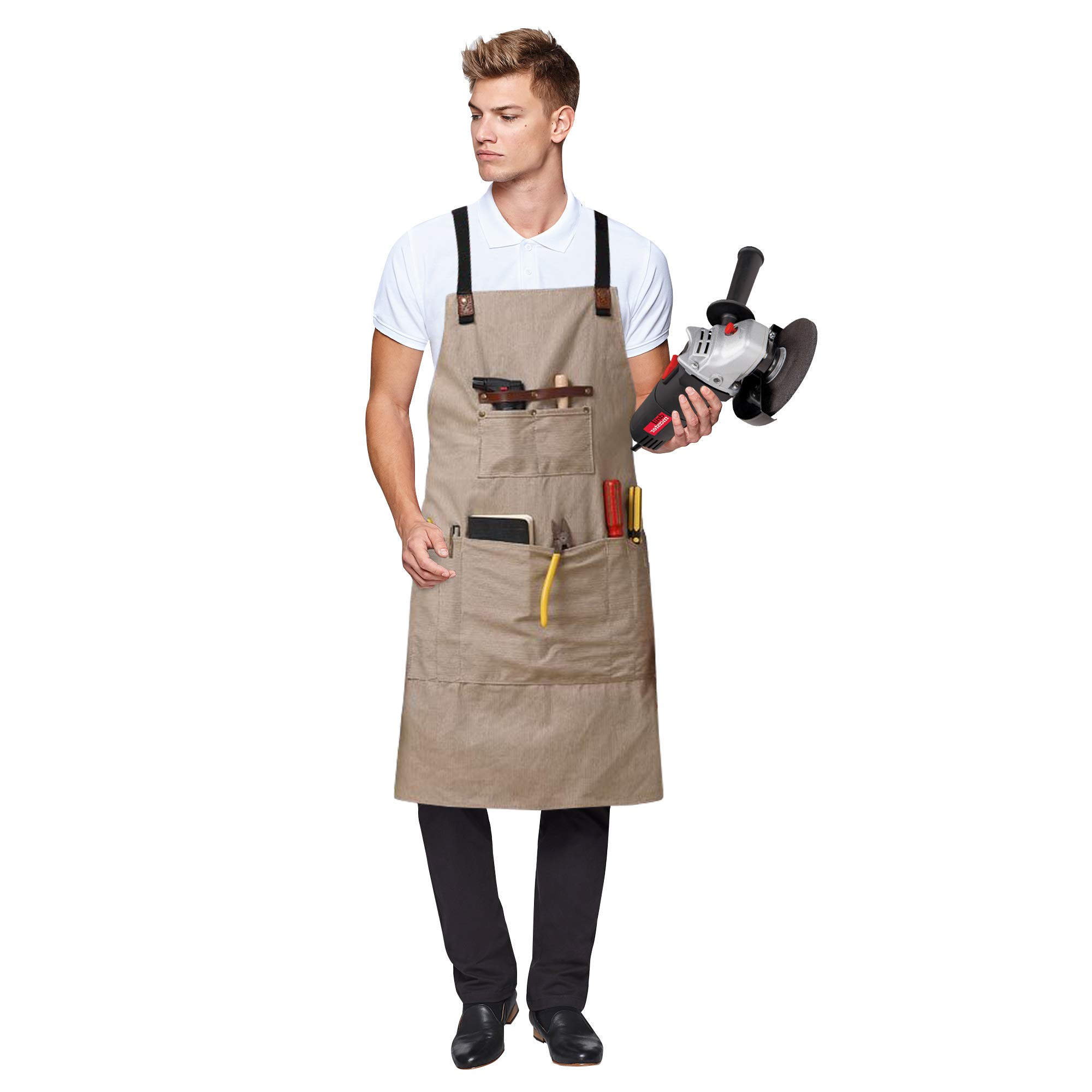 Canvas Work Apron with Cross-Back Straps Resistant Tools Aprons Perfect for Craftsmen Painter, Gardening, Work, Women Men (Gray)