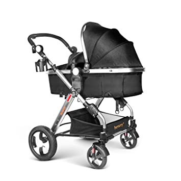 Besrey 2 in1 Luxury Newborn Baby Stroller for Infant Folding Convertible Baby Carriage - Black