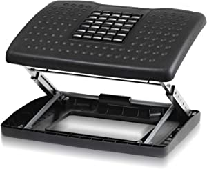 Halter F6068 Adjustable Height Foot Rest with Rollers for Foot Massage – Black