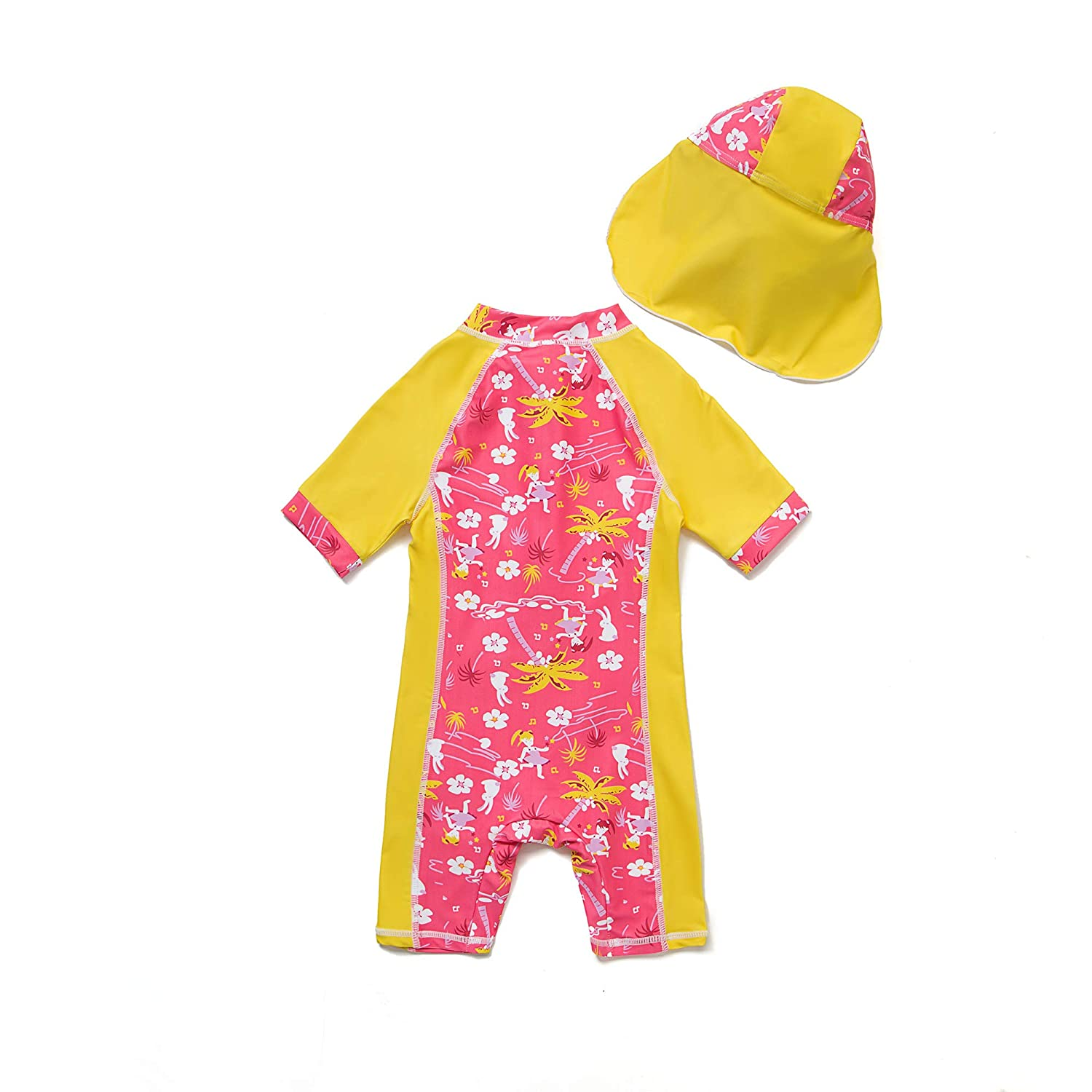 Baby Girls Sunsuit UPF 50 Mei Red Flowers,12-18Months Sun Protection One Pieces Short Sleeves Swimwear with Sun Hat