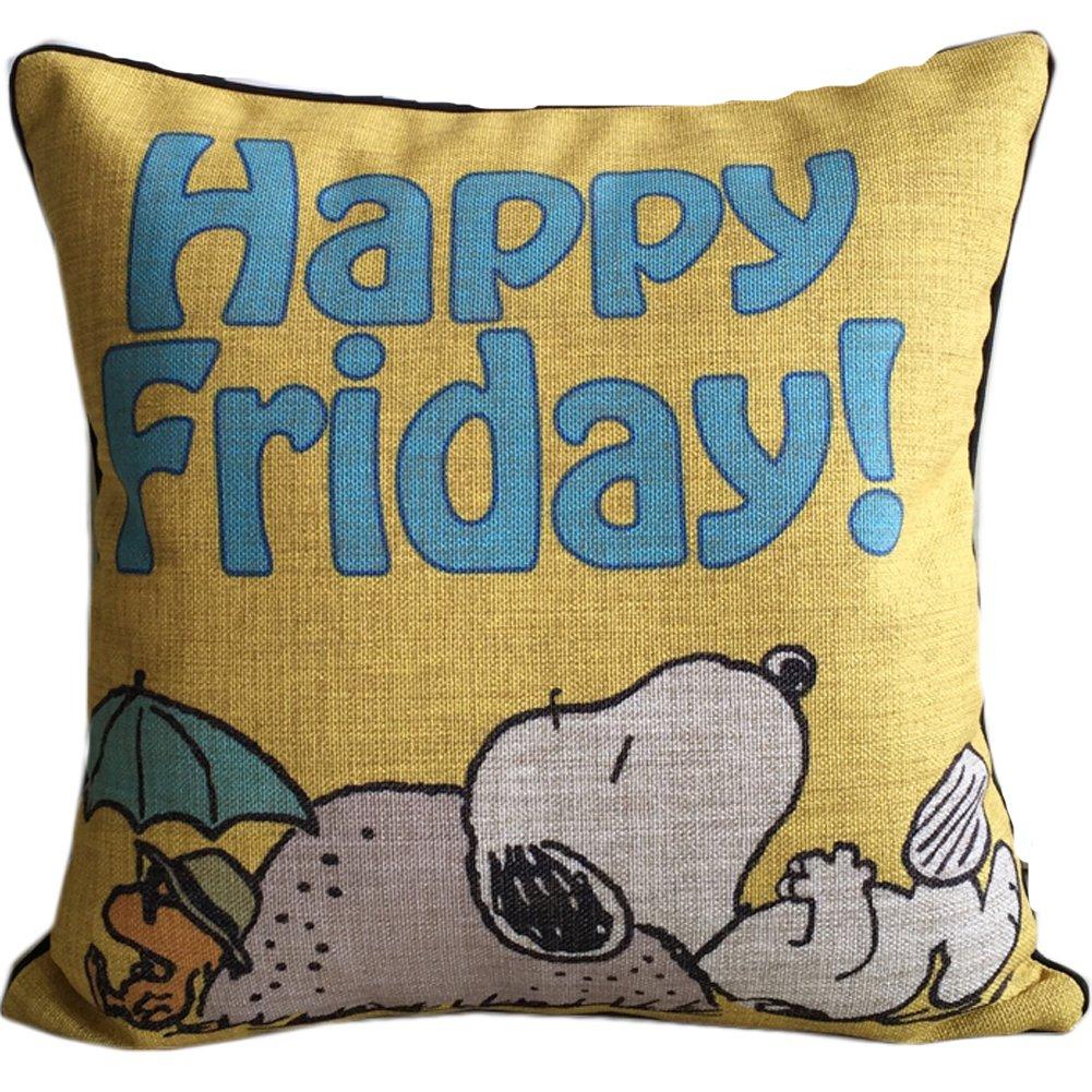 Cute Snoopy High Quality Cotton&linen Throw Pillow Car/sofa Back Cushion Home Decorative Pillows 18''x18'' (Yellow) by E.a@market Throw Pillows