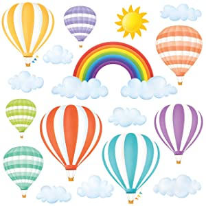 DECOWALL DWT-1801 Rainbow and Hot Air Balloons Kids Wall Stickers Wall Decals Peel and Stick Removable Wall Stickers for Kids Nursery Bedroom Living Room décor