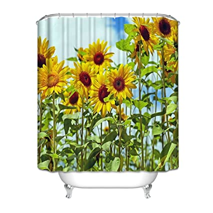 Art Design Shower Curtain Beautiful SunflowerShower For Bathroom Print Polyester Waterproof