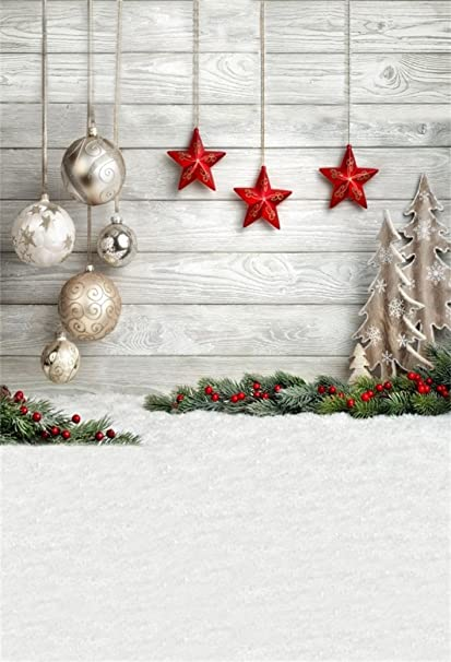 aofoto 5x7ft christmas backdrop xmas tree balls star decoration photography background snowfield kid baby girl infant - Christmas Decoration Video