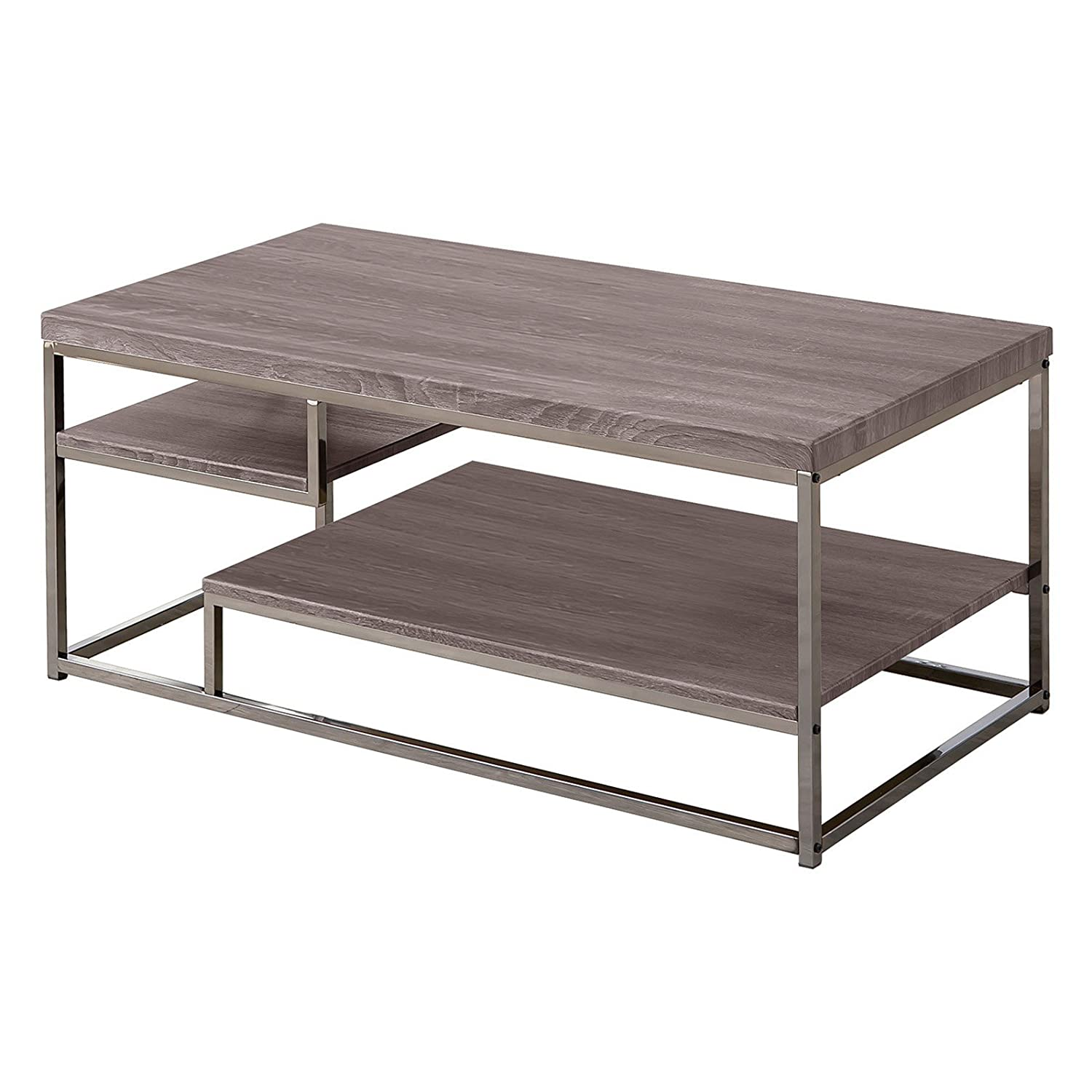 Amazon.com: Coaster Modern Dark Grey Coffee Table with 2 Shelves ...