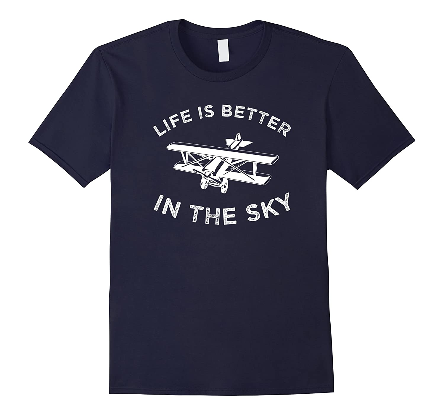 Airplane T-Shirt Retro Biplane Life Is Better In The Sky Tee-PL
