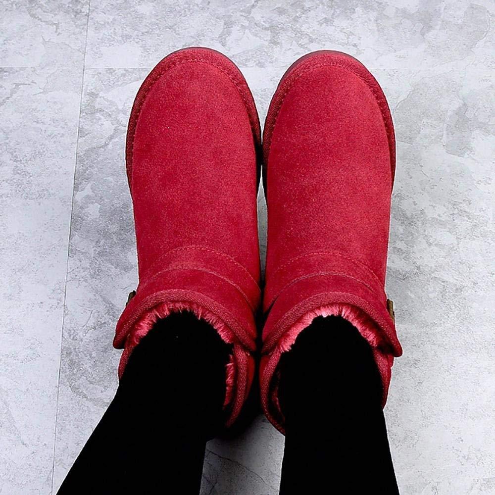 HhGold Damen Kinder Schlupfstiefel Warm Gefütterte Stiefel Schleifen Schleifen Schleifen Stiefeletten Blaumen Stiefel Print Schuhe Winterschuhe (Farbe   Rot, Größe   37) b50d13