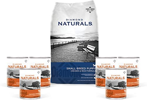 Diamond Natural Puppy Food Small Breed Formula Chicken and Rice Variety Bundle 9 Items 1 Dry Bag 6 lbs Plus 6 Wet Cans of Chicken Dinner 1 Pet Food Lid 1 Dog Toy