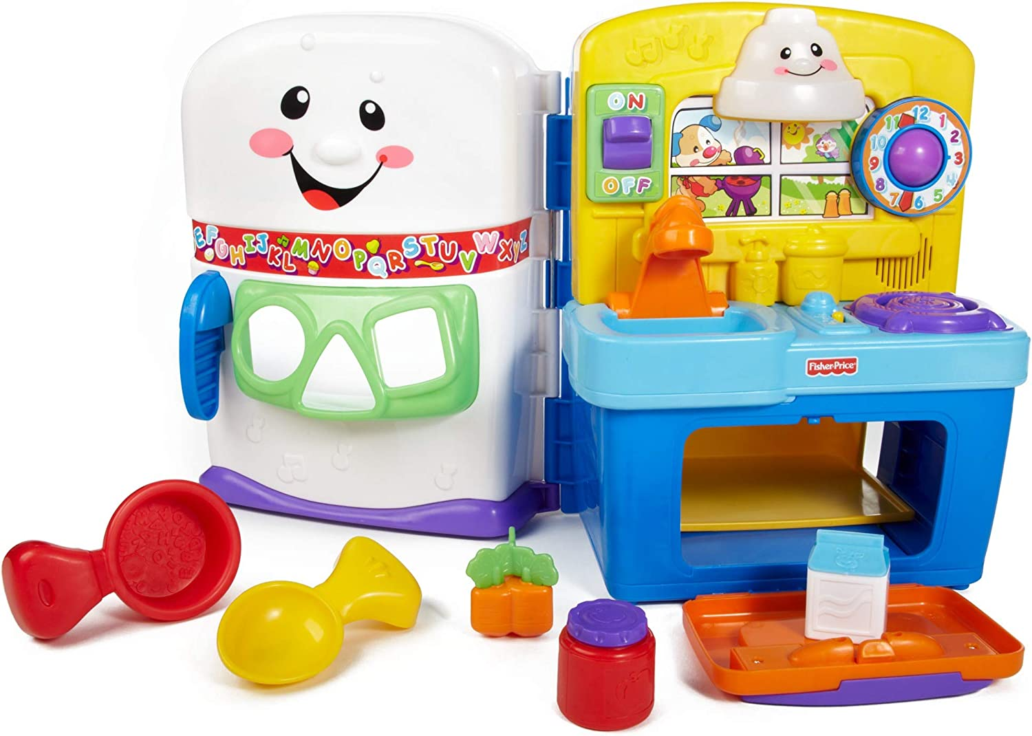 Amazon Com Fisher Price Laugh And Learn Learning Kitchen Interactive Pretend Play Set Amazon Exclusive Toys Games