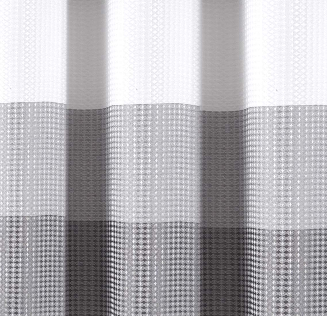 70x72 Black Dainty Home Ombre Waffle Shower Curtain