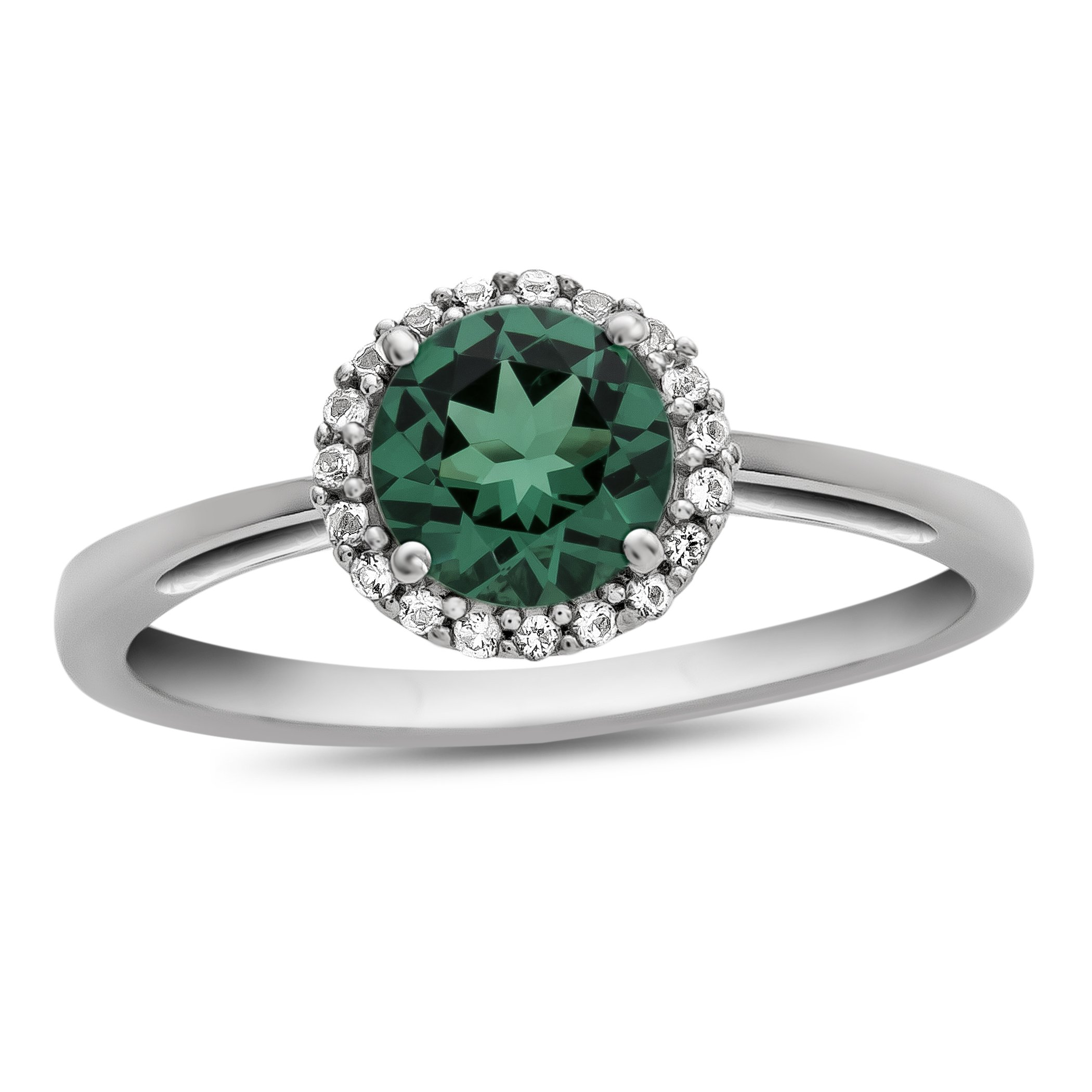 10k White Gold 6mm Round Simulated Emerald with White Topaz accent stones Halo Ring Size 6