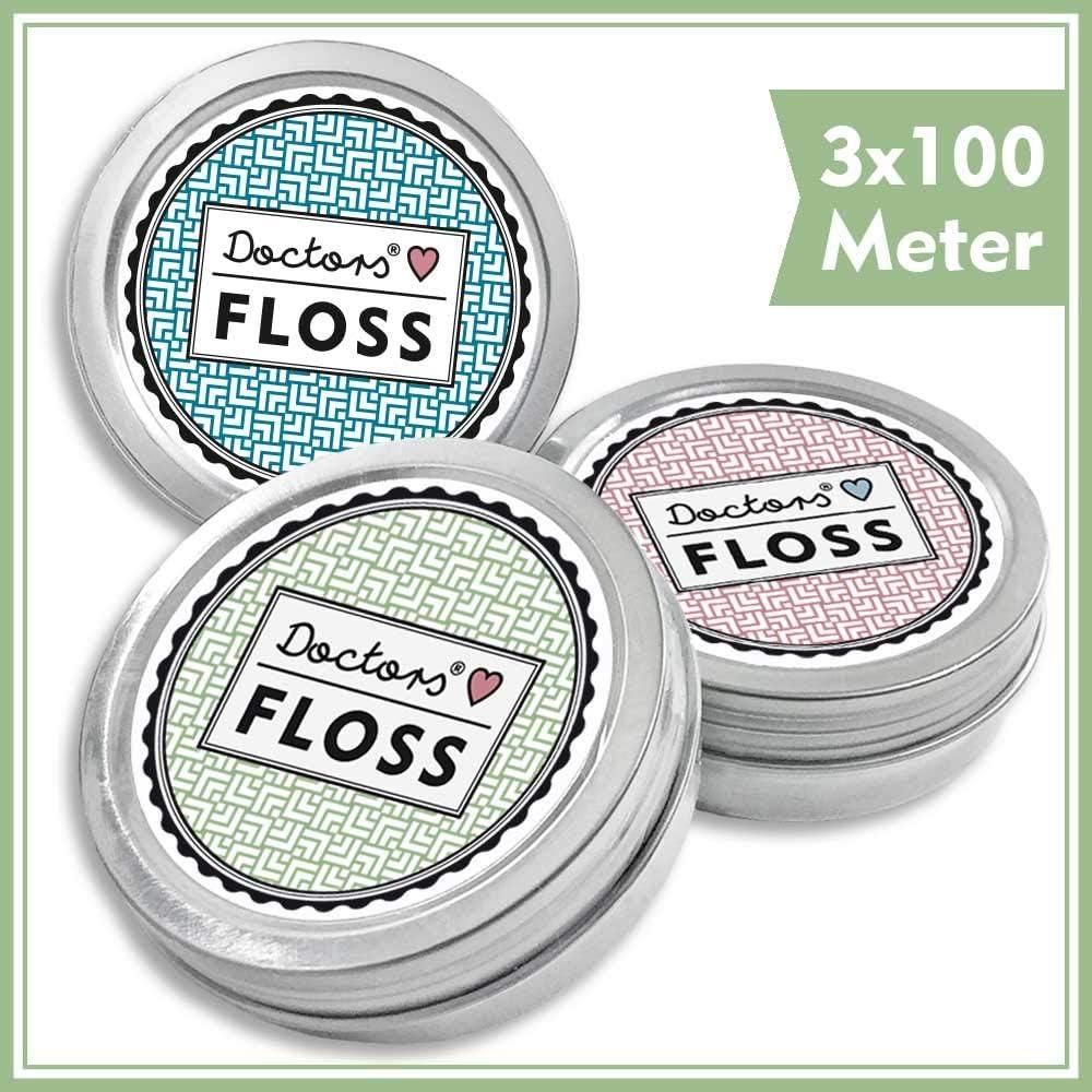 DOCTORS Floss, 3 x 100m hilo dental vegano, recargable con bobina recambio, fino, ligeramente encerado, menta, ecologico & sostenible, caja reusable
