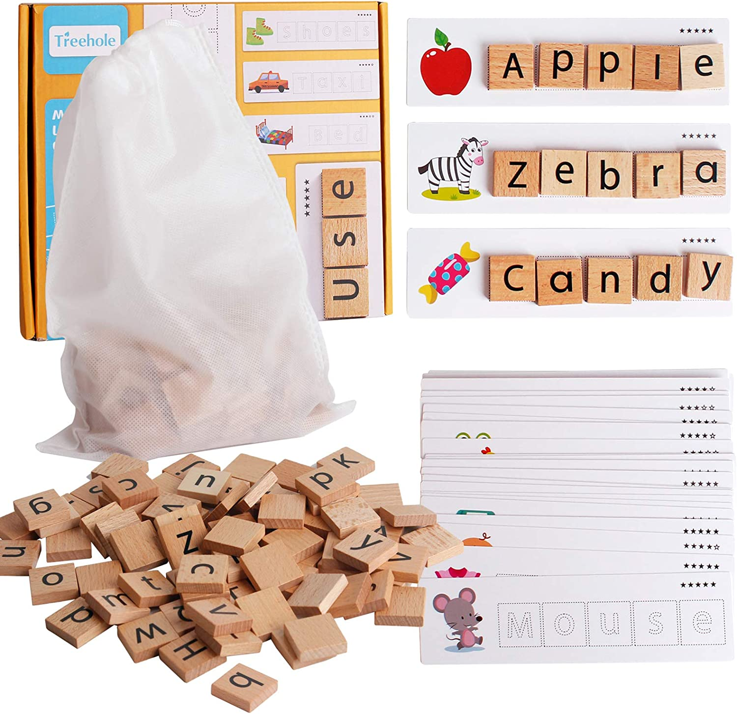 Wooden Words Spelling Matching Toy Flash Cards Educational Game Set ABC Alphabet Letters Shape Puzzle Educational Developmental Tools Montessori STEM Gift for Kids Toddlers 3 Years Old