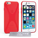 Yousave Accessories Silicone X-Line Cover Case for iPhone 6 - Red