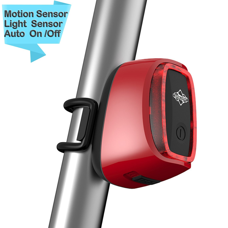 Piloto trasero onew bicicleta, luces Bike inteligentes, sensor de luz y sensor de movimiento auto on/off recargable impermeable luz de la bici del deporte ...
