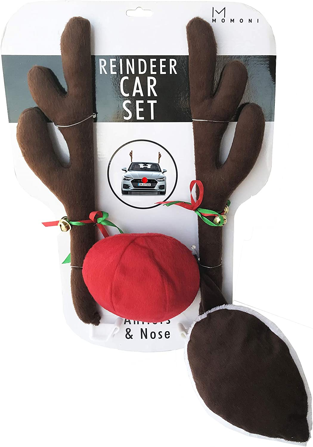 Mcvcoyh Car Reindeer Antlers Christmas Reindeer Vehicle 4 Pack Christmas Decorations Auto Decoration Kit with Tail and Jingle Bells Reindeer for Car Christmas