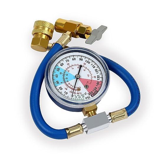 Latinaric – kit de recarga con manómetro para medir y recargar el refrigerante del aire acondicionado R134a: Amazon.es: Coche y moto