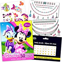 Minnie Mouse Tattoos Party Favor Super Set -- Over 100 Pieces (18 Flash Metallic Jewelry Tattoos Over 50 Standard Temporary Tattoos 40 Jewel Stickers)