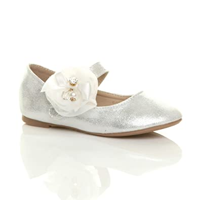 1e288f1b8b5630 Ajvani Girls Kids Childrens Flat Mary Jane Wedding Bridesmaid Shoes  Ballerinas Size 33 Silver