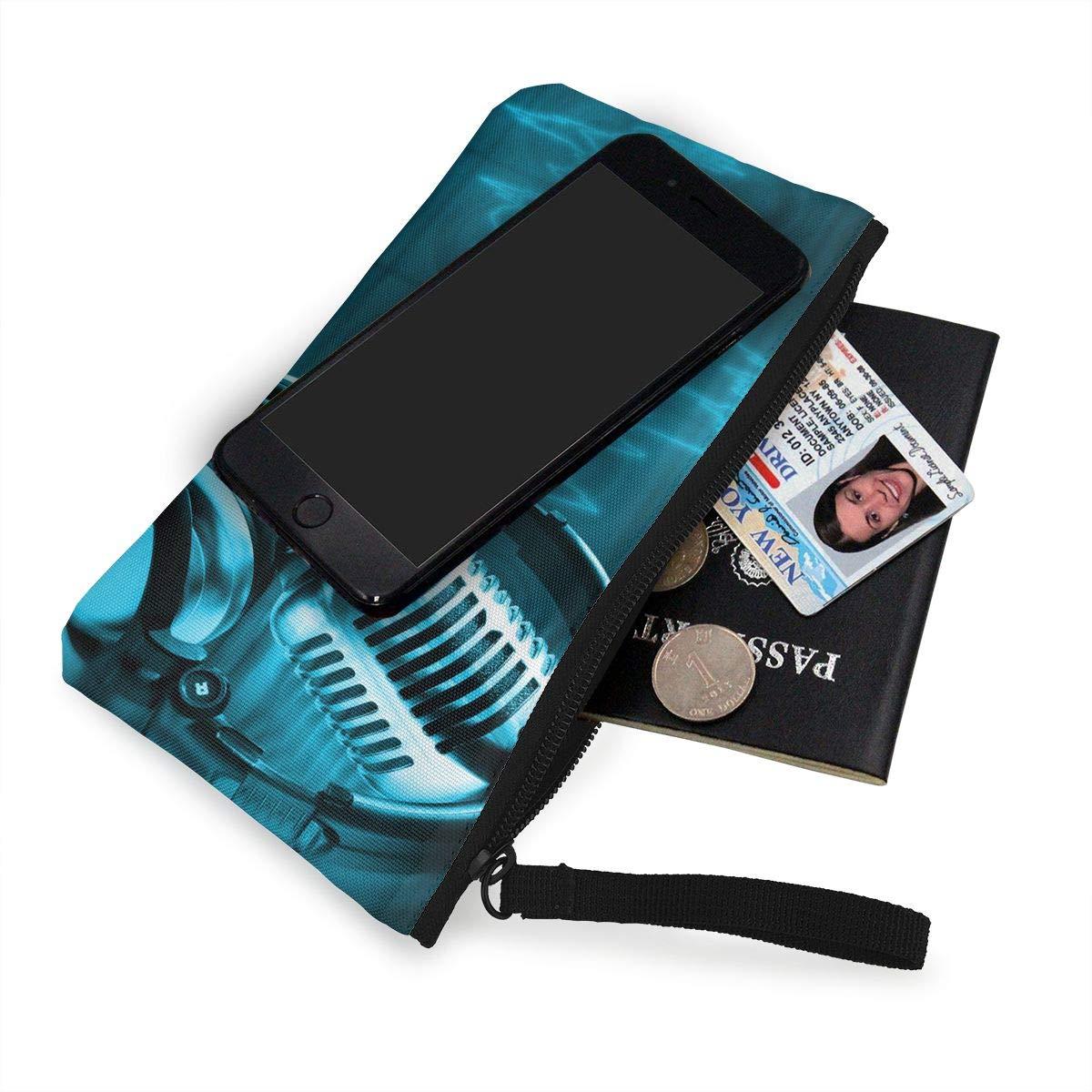 YUANSHAN Musical Notes Unisex Canvas Coin Purse Change Cash Bag Zipper Small Purse Wallets with Handle