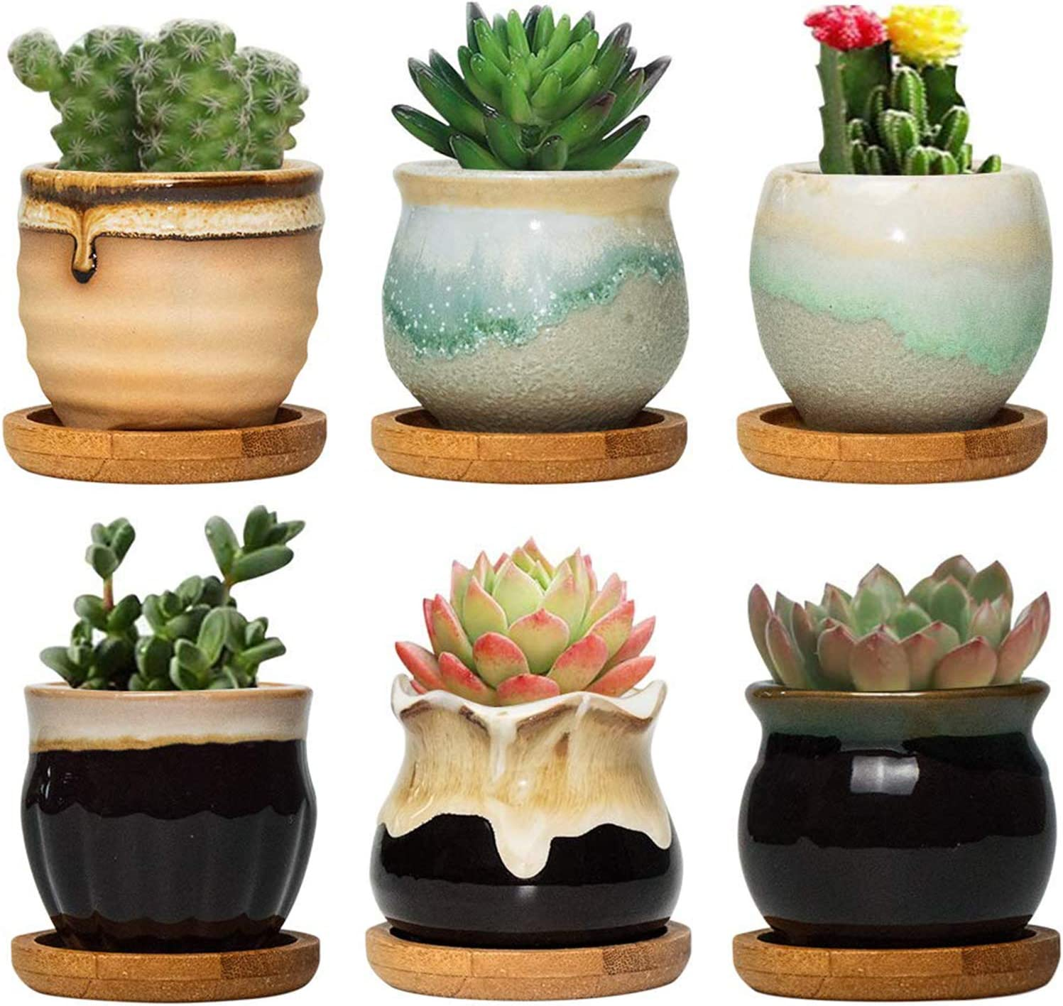 FairyLavie 6.5CM Ceramic Succulent Plant Pot, Rustic Style Cute Little Pots  for Plants, Planter with Bamboo Tray, Perfect for Home Office Decor for  Family Friends Colleague, Set of 6: Amazon.co.uk: Garden &