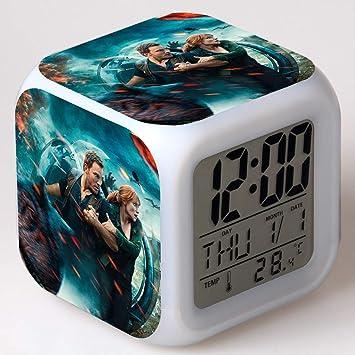 SXWY Jurassic World Alarm Clock Reloj Despertador Digital, Jurassic Park Luces de Colores Mood Alarm Clock Reloj Cuadrado Disponible USB Carga Adecuada para ...