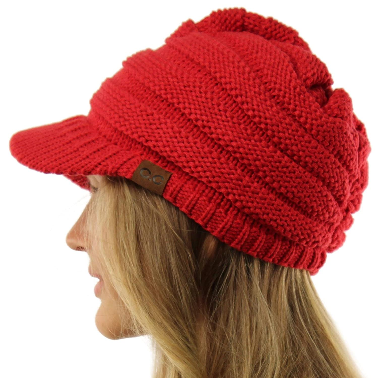 Unisex Winter Thick Chunky Stretch Knit Beanie Skully Visor Jeep Hat Cap  Red M at Amazon Men s Clothing store  2b50f69954