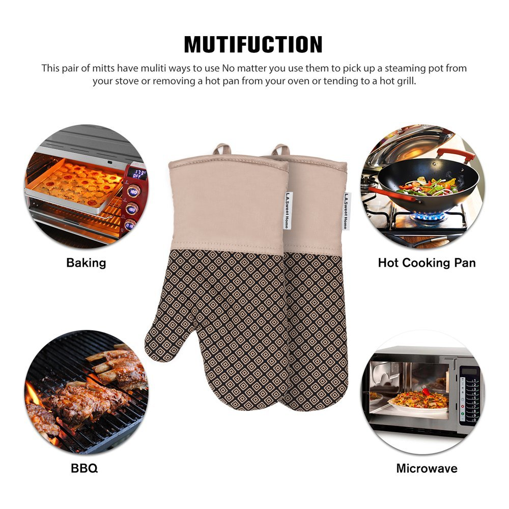 LA Sweet Home Silicone Oven Mitts Greek Key Pattern Heat Resistant Potholders Cooking Gloves Non-Slip Barbecue Gloves, Pot Holders as Gift 1 Pair (Red) by by LA Sweet Home (Image #4)