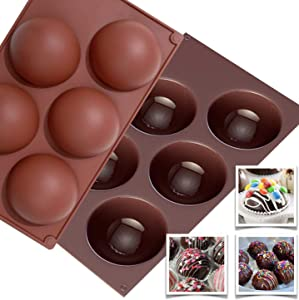 Kitchinizer Products - Extra Large Hot Chocolate Bomb Molds - Food Grade Silicone Spheres - Round 5 Hole Half Circle Mold for Coffee Cocoa Cake Fat Bombs - Brick Red And Chocolate Brown (2 molds)