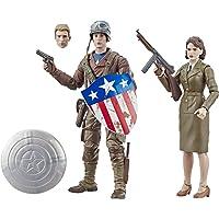 Marvel Legends Series Capitán América: El Primer Vengador, pack de 2 figuras de acción coleccionables de 15 cm de Capitán América y Peggy Carter inspirado en la película