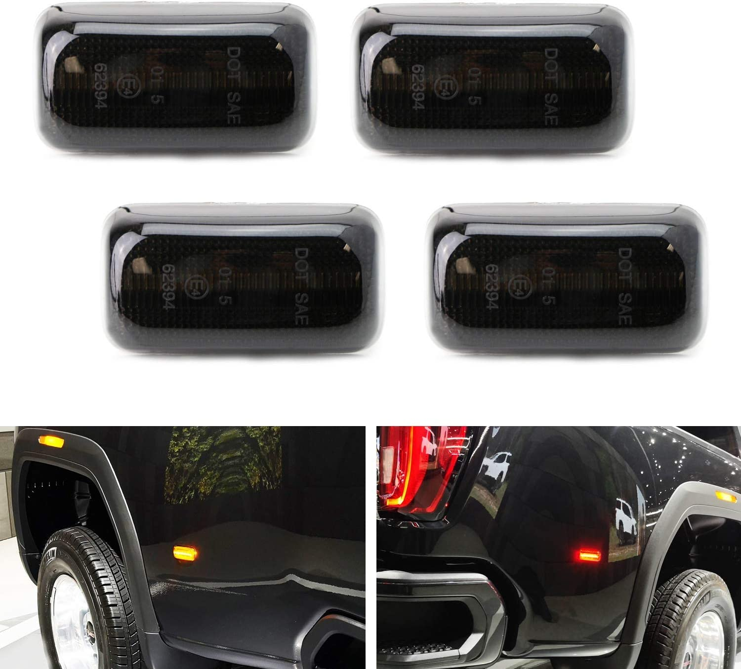Amazon Com Ijdmtoy Smoked Lens Amber Red Full Led Dually Rear Fender Marker Lights Compatible With 2015 Up Chevy Gmc 2500hd 3500hd Double Wheel Fender Bed Powered By Total 60 Led Automotive