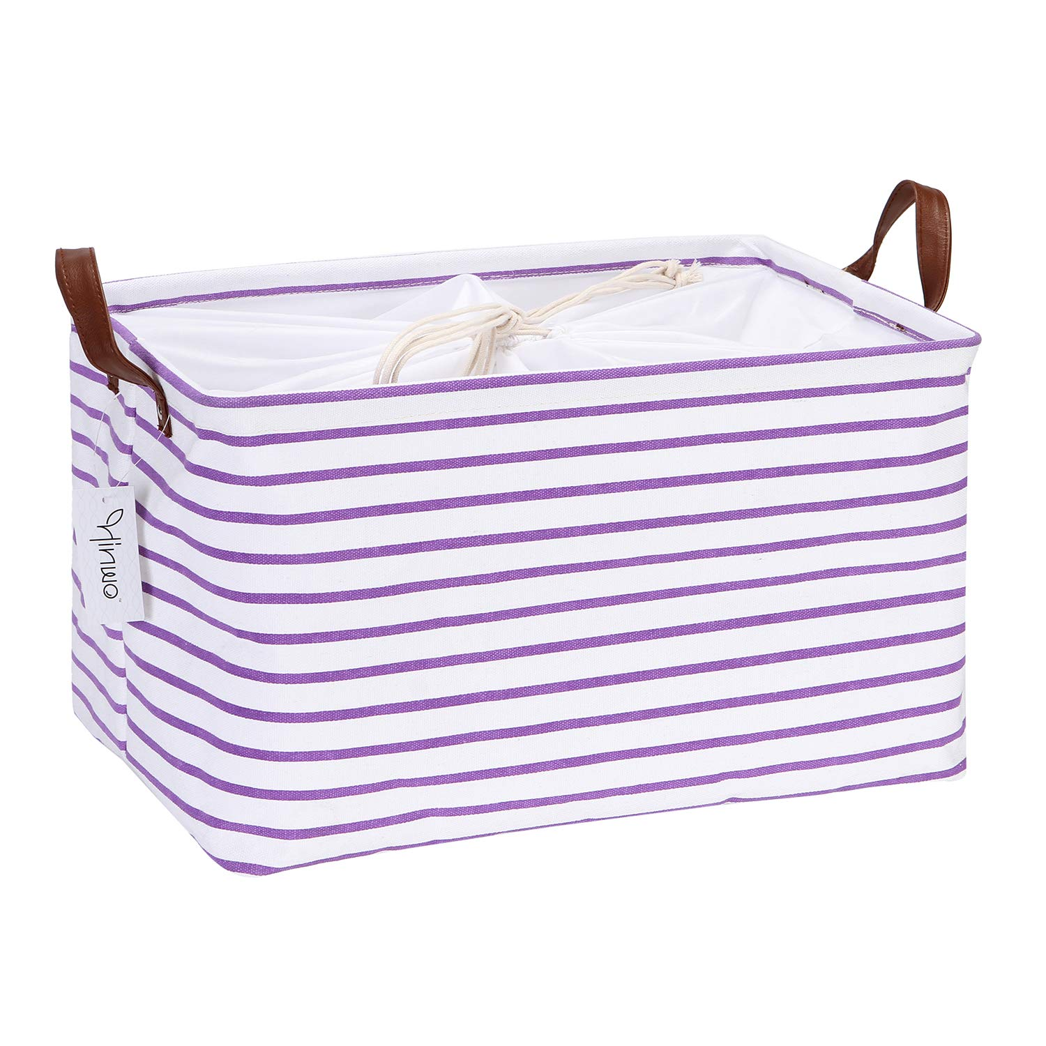 Hinwo 31L Large Capacity Storage Basket Canvas Fabric Storage Bin Collapsible Storage Box with PU Leather Handles and Drawstring Closure, 16.5 by 11.8 inches, Waterproof Inner Layer, Purple Stripe