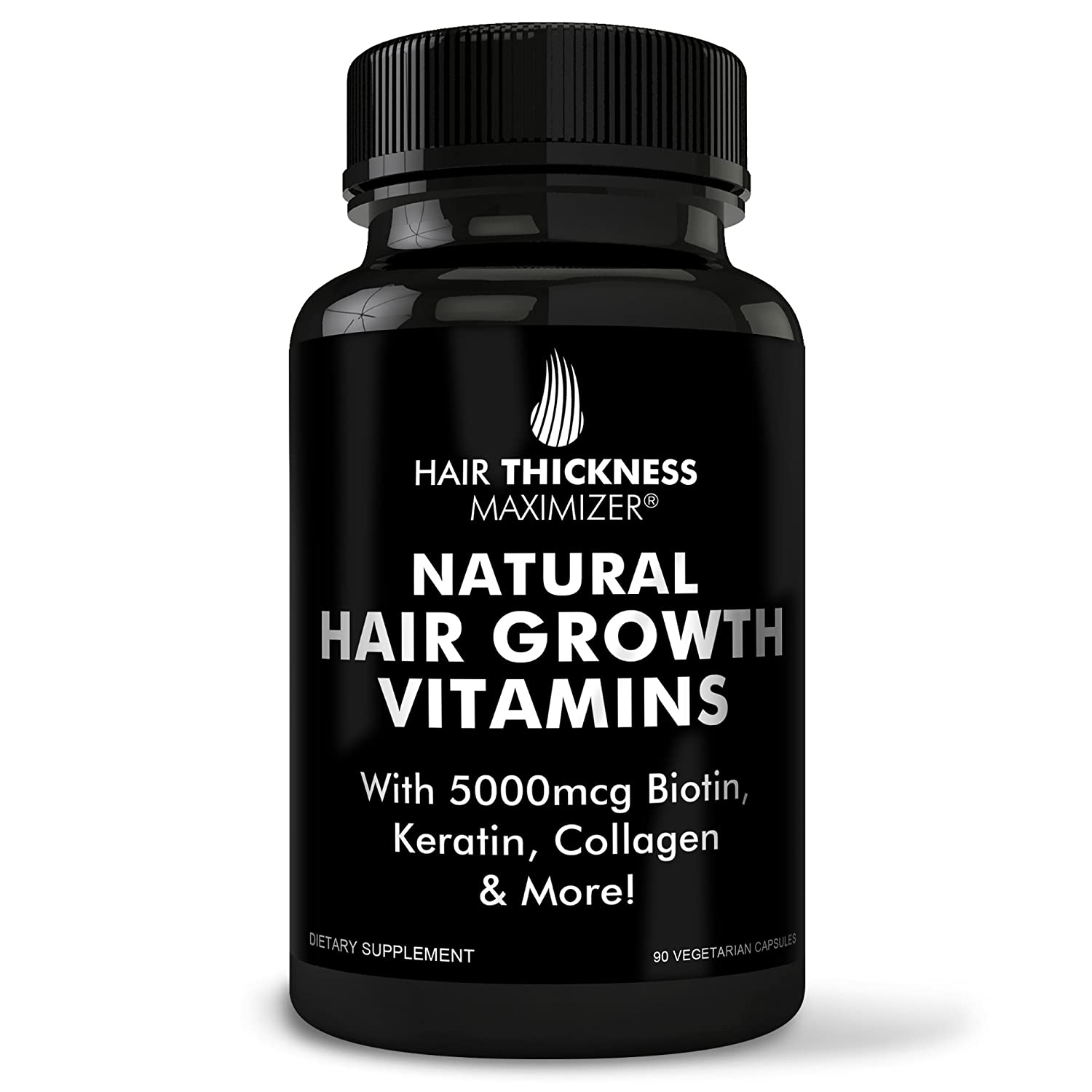 BEST Hair Growth Vitamins GUARANTEED. Stop Hair Loss NOW by Hair Thickness Maximizer. Natural Hair Growth Vitamins for Stronger, Thicker Hair. MADE IN USA. SAFE Vegetarian | With Biotin, Horsetail Ext