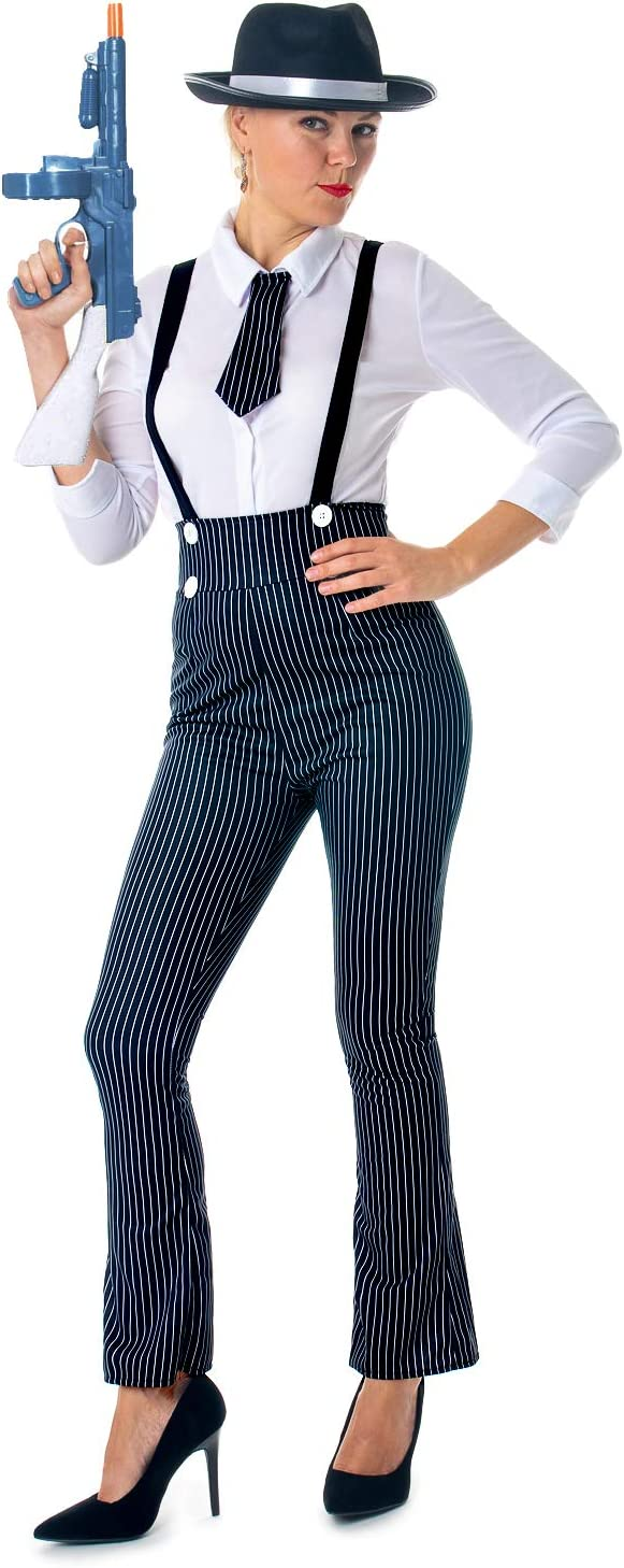 Gangster Costumes & Outfits | Women's and Men's Ladies Gangster Costume 1920s Mobster Fancy Dress Pinstripe Suit Outfit Mole £20.49 AT vintagedancer.com
