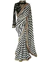 Regent-e Fashion Georgette Saree With Blouse Piece (zebra_Black_Free Size)
