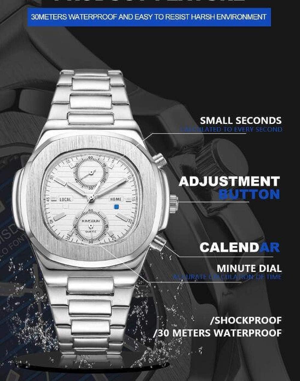 Orologi Da Polso,Orologio Al Quarzo Impermeabile Sportivo Cronografo Con Cinturino In Acciaio Inossidabile Black Shell Blue Surface
